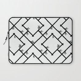 Bamboo Chinoiserie Lattice in White + Black Laptop Sleeve