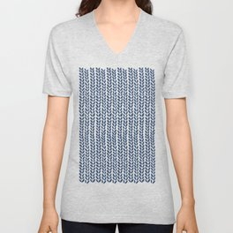 Knit Wave Navy Unisex V-Neck