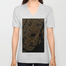Black and gold Montreal map Unisex V-Neck
