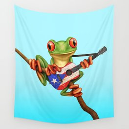 Tree Frog Playing Acoustic Guitar with Flag of Puerto Rico Wall Tapestry