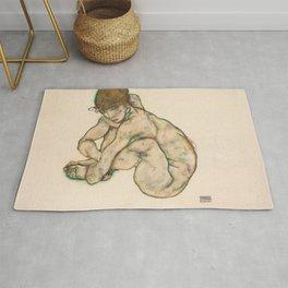 """Egon Schiele """"Crouching nude girl"""" Rug"""