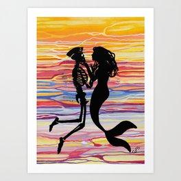 Skeleton Meets Mermaid Art Print