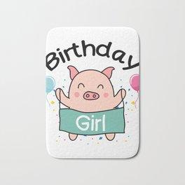 Birthday Girl Happy Pig Lover Bath Mat