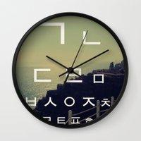 korean Wall Clocks featuring korean alpha by Alison Kim