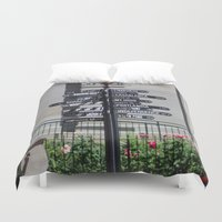casablanca Duvet Covers featuring What direction is ... ? by Sathya B