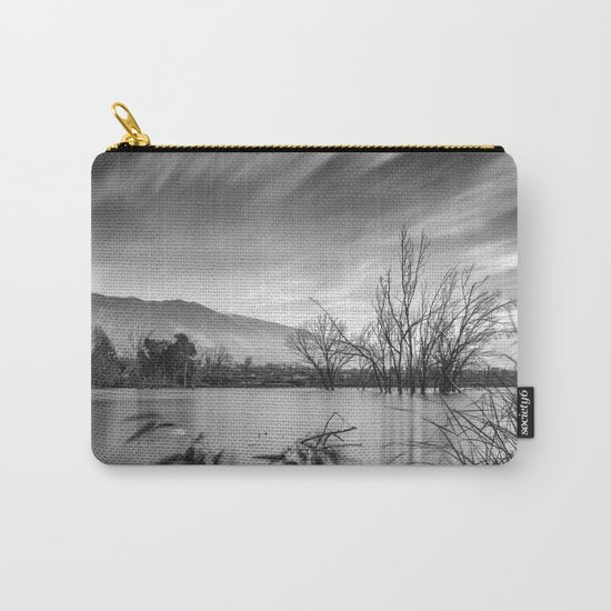 """Windy Clouds"". At the lake. BW Carry-All Pouch"
