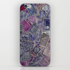 Vintage Postage Stamp Collection - Purple iPhone & iPod Skin