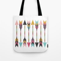 bohemian Tote Bags featuring Bohemian Arrows by Bohemian Gypsy Jane