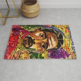 rip nip,rapper,rap,lyrics,music,album,poster,shirt,memorial,hiphop,wall art,painting,fan art,cool Rug