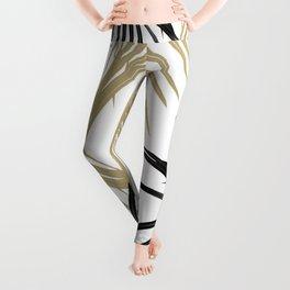 Gold Black Palm Leaves Dream #1 #tropical #decor #art #society6 Leggings