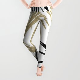 Gold Black Palm Leaves Dream #1 #tropical #decor #art #society6 Leggings