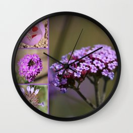 Purple Violet Pink Flowers Collage Wall Clock