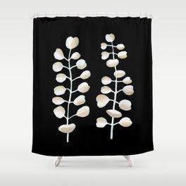 White Eucalyptus Leaves Shower Curtain