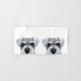 Schnauzer Grey&white, Dog illustration original painting print Hand & Bath Towel