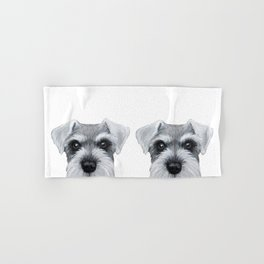 Schnauzer Grey&white, Dog illustration original painting print Hand & Bath Towel