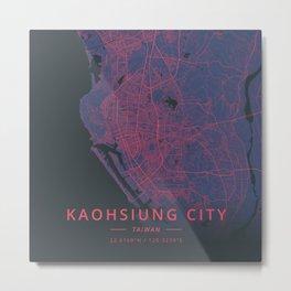 Kaohsiung City, Taiwan - Neon Metal Print