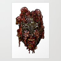 Heads of the Living Dead  Zombies: Cure Backfire Zombie Art Print