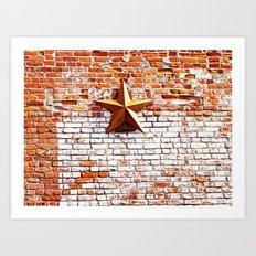 Gold Star on Brick Art Print