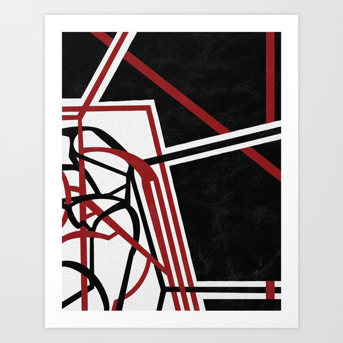 Tangents - Red and Black Hard Edge Abstract Art Print