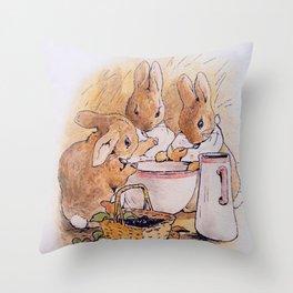Peter Rabbit with his parents Throw Pillow