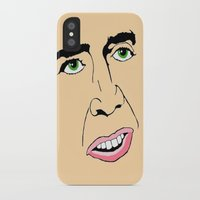nicolas cage iPhone & iPod Cases featuring Nicolas Cage  's Face by Froleyboy