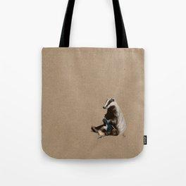Badger Knitting a Scarf Tote Bag