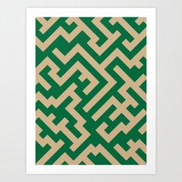 Tan Brown and Cadmium Green Diagonal Labyrinth Art Print