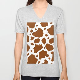 cocoa milk chocolate brown and white cow spots animal print Unisex V-Neck