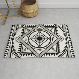Western tribal square mandala 3 - black on neutral Rug