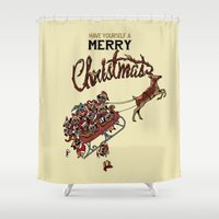 pugs Shower Curtains featuring Pugs Christmas by Huebucket
