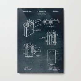 1934 - Pocket lighter patent art Metal Print