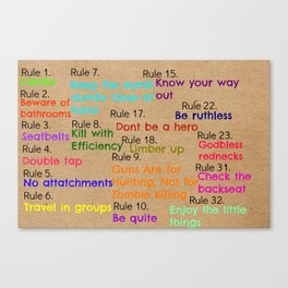 Zombieland Rules Canvas Print