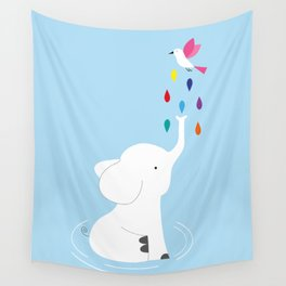 Baby elephant and bird Wall Tapestry
