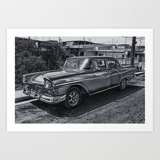 Old Car in Black and White Art Print