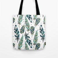feathers Tote Bags featuring Feathers by Julia Badeeva