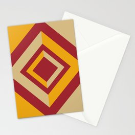 Red Orange Beige Geometric Diamond Shape Design 2021 Color of the Year Satin Paprika & Accent Shades Stationery Cards