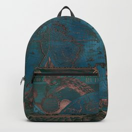 Rose gold and teal antique world map with sail ships Backpack