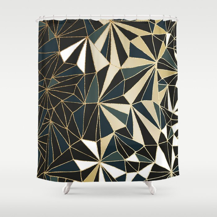 New Art Deco Geometric Pattern Emerald Green And Gold Shower Curtain