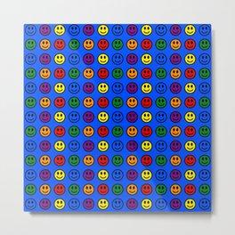 Blue Smiley Faces Pride Rainbow Colors Metal Print