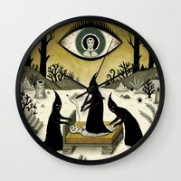 sale Wall Clocks featuring Three Shadow People Terrify a Victim During an Episode of Sleep Paralysis by Jon MacNair