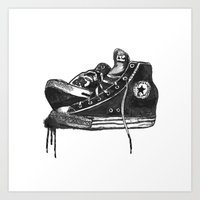 sneakers Art Prints featuring sneakers by Cardula