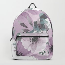 Abstract Watercolor, Purple and Gray, Floral Watercolor Backpack