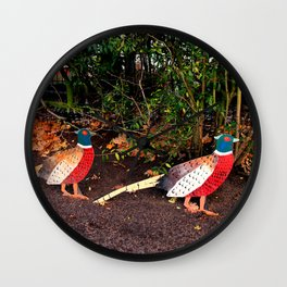 Two Pheasants On The Sidelines Wall Clock