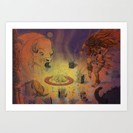 Shaman psychopomp ceremony with buffalo spirit Art Print