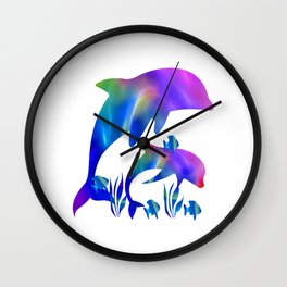 Rainbow Dolphins swimming in the sea Wall Clock