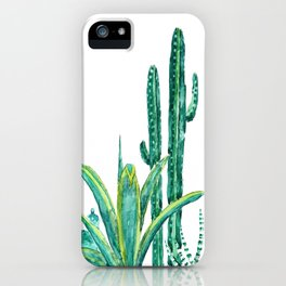 cactus jungle watercolor painting 2 iPhone Case