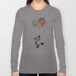 Birthday Panda Balloons Cute Animal Watercolor Long Sleeve T-shirt