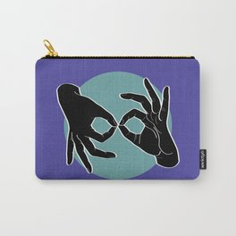 Sign Language (ASL) Interpreter – Black on Turquoise 02 Carry-All Pouch