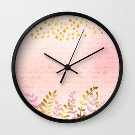 Orchid pink - golden rainforest Wall Clock