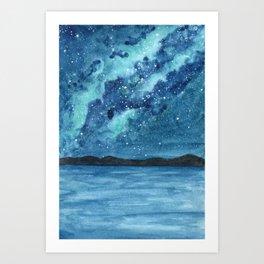 """Sea Glass Galaxy"" watercolor landscape painting Art Print"